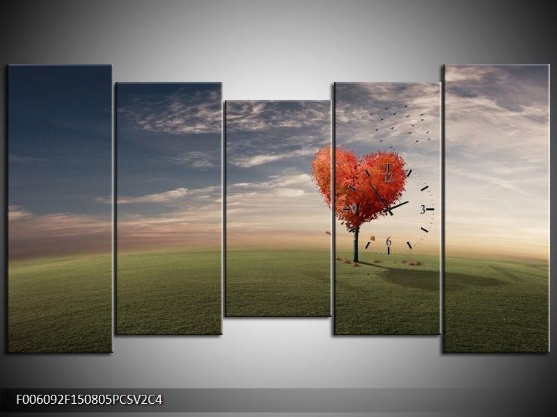 Klok schilderij Natuur | Oranje, Groen, Grijs | 150x80cm 5Luik
