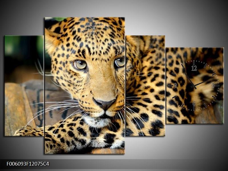 Klok schilderij Luipaard   Bruin, Zwart   120x75cm 4Luik