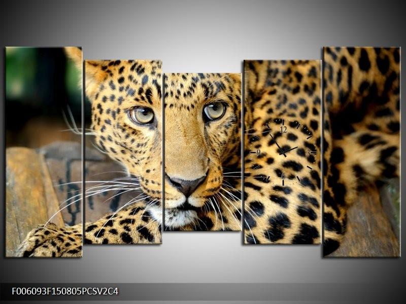 Klok schilderij Luipaard | Bruin, Zwart | 150x80cm 5Luik