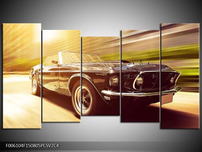 Klok schilderij Mustang | Groen, Geel | 150x80cm 5Luik