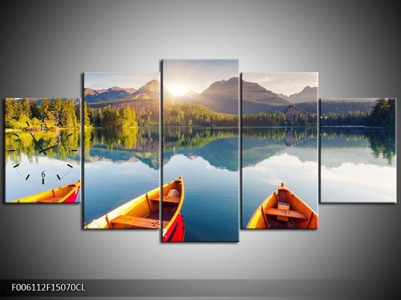 Klok schilderij Boot   Oranje, Rood, Blauw   150x70cm 5Luik