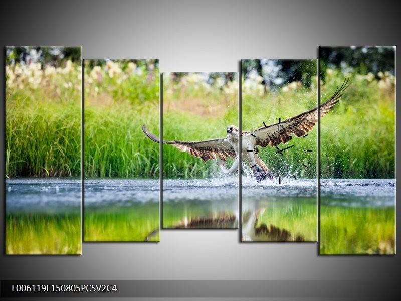 Klok schilderij Natuur | Groen, Grijs | 150x80cm 5Luik