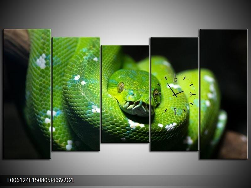 Klok schilderij Natuur | Groen, Zwart | 150x80cm 5Luik