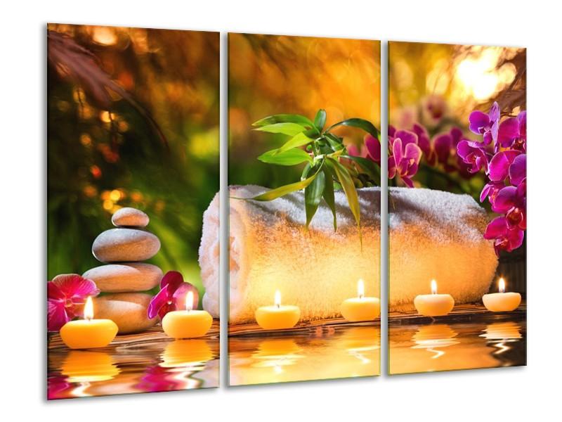 Canvas schilderij Spa | Geel, Bruin, Paars | 120x80cm 3Luik