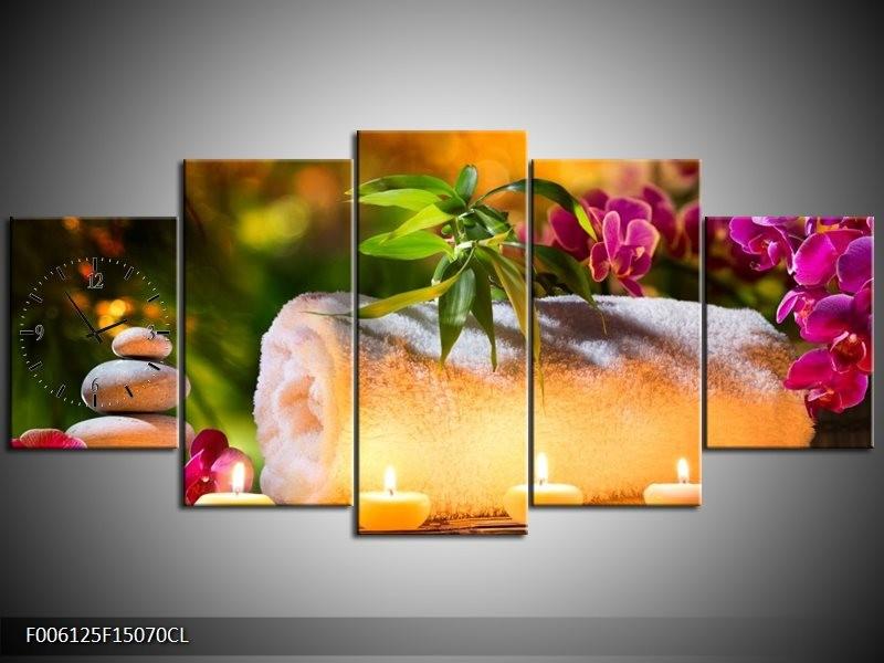 Klok schilderij Spa | Geel, Bruin, Paars | 150x70cm 5Luik