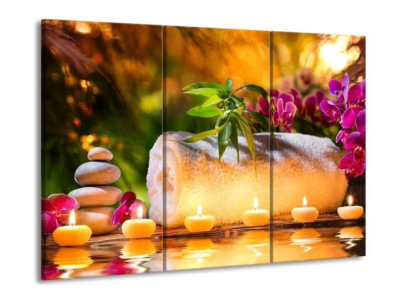 Glas schilderij Spa | Geel, Bruin, Paars | 90x60cm 3Luik