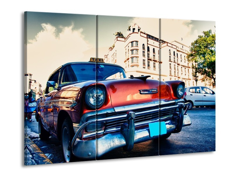 Canvas schilderij Oldtimer | Rood, Wit, Blauw | 90x60cm 3Luik