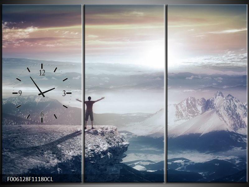 Klok schilderij Natuur | Grijs, Wit | 111x80cm 3Luik