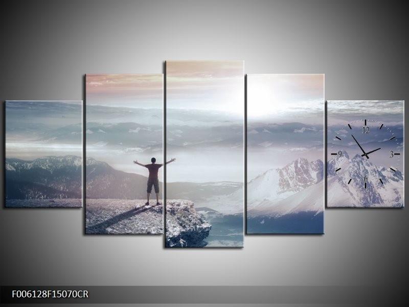 Klok schilderij Natuur | Grijs, Wit | 150x70cm 5Luik
