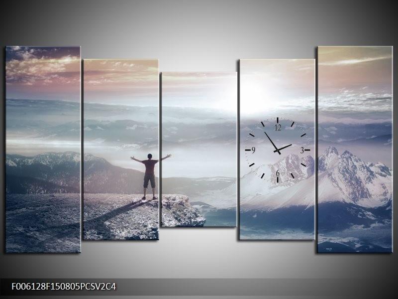 Klok schilderij Natuur | Grijs, Wit | 150x80cm 5Luik