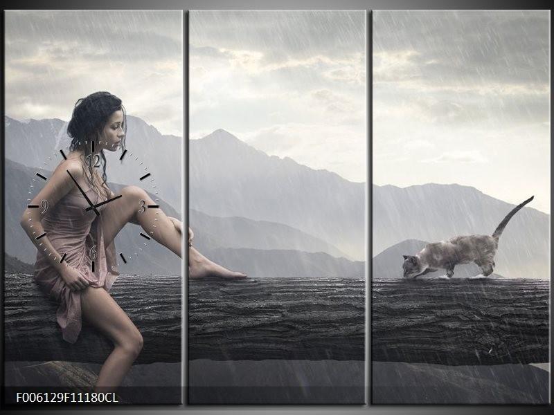 Klok schilderij Vrouw | Grijs | 111x80cm 3Luik
