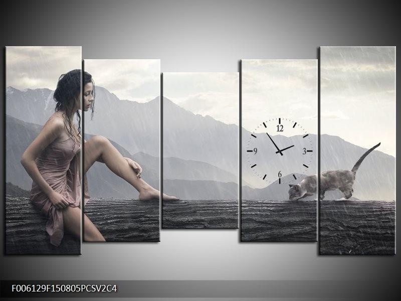 Klok schilderij Vrouw | Grijs | 150x80cm 5Luik
