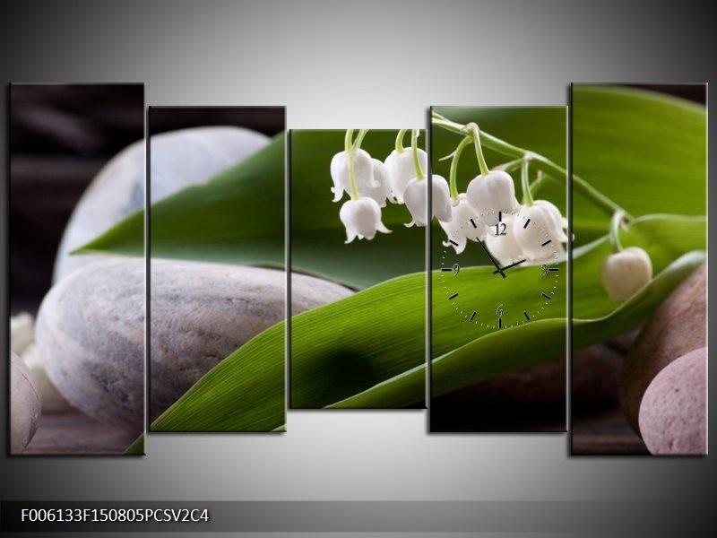 Klok schilderij Bloemen | Groen, Wit, Grijs | 150x80cm 5Luik