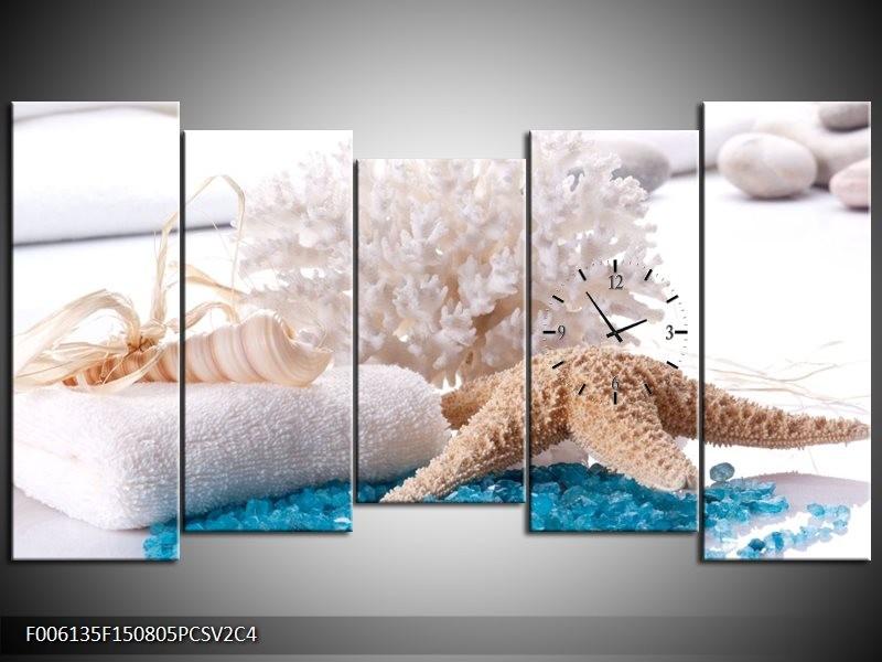 Klok schilderij Spa | Blauw, Wit | 150x80cm 5Luik