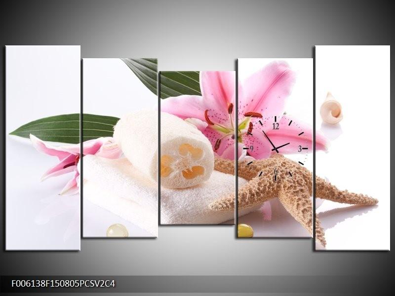 Klok schilderij Spa | Roze, Wit | 150x80cm 5Luik