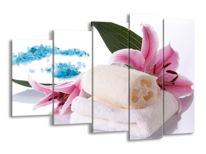 Glas schilderij Spa | Roze, Wit, Blauw | 150x100cm 5Luik