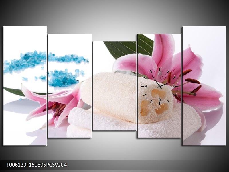 Klok schilderij Spa | Roze, Wit, Blauw | 150x80cm 5Luik