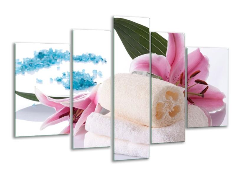 Glas schilderij Spa | Roze, Wit, Blauw | 170x100cm 5Luik