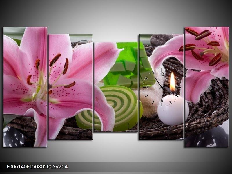 Klok schilderij Spa | Roze, Groen | 150x80cm 5Luik