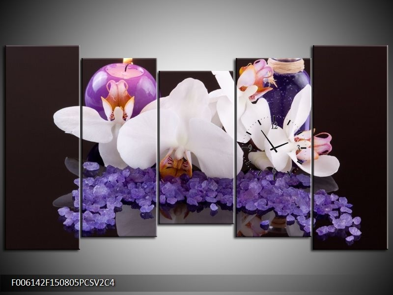 Klok schilderij Spa | Paars, Wit, Zwart | 150x80cm 5Luik