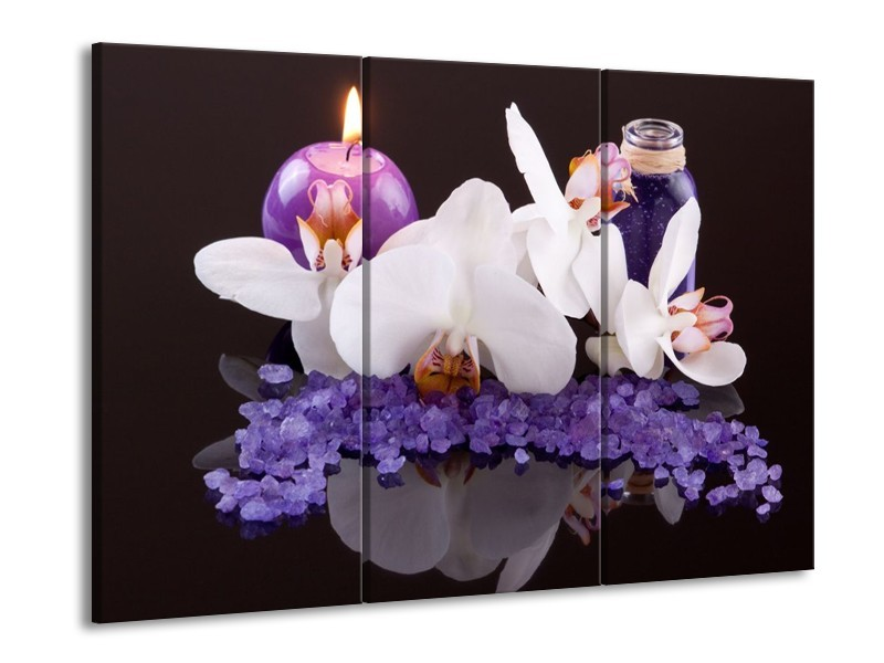 Glas schilderij Spa | Paars, Wit, Zwart | 90x60cm 3Luik