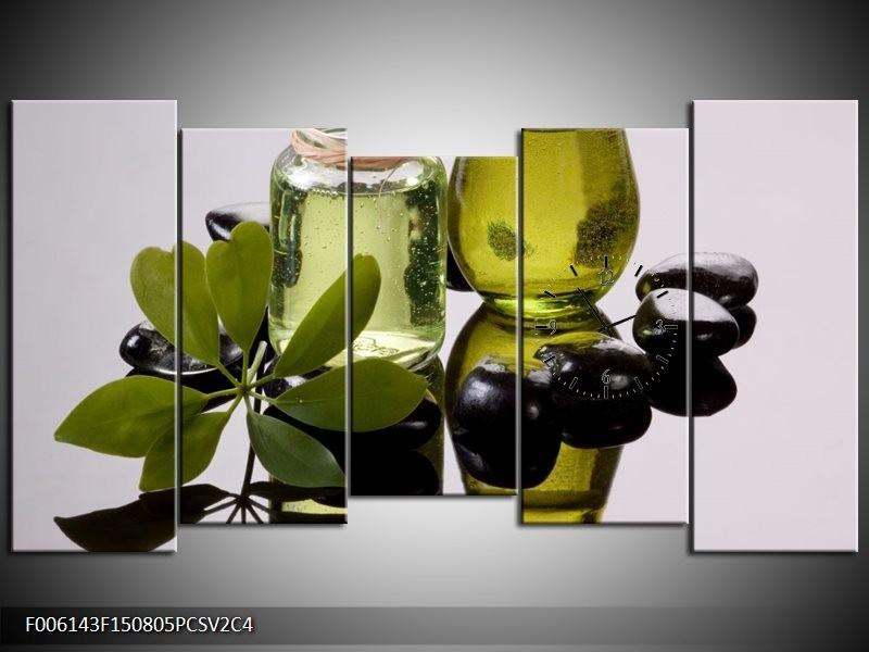 Klok schilderij Olijven | Groen, Grijs | 150x80cm 5Luik