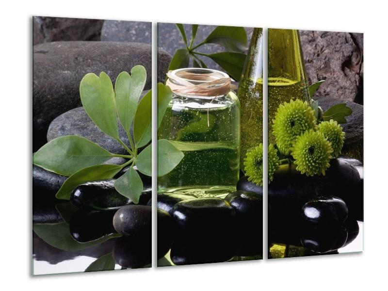 Glas schilderij Olijven | Groen, Zwart | 120x80cm 3Luik