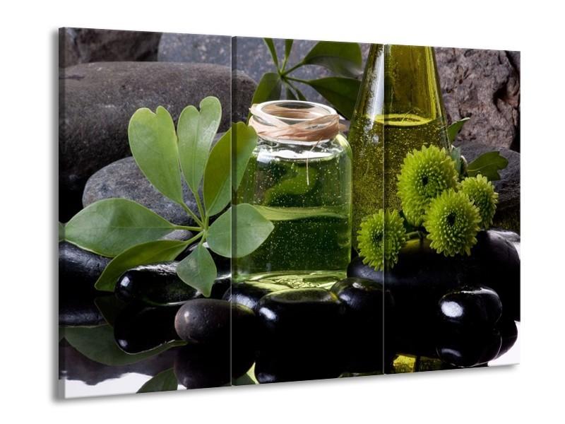 Glas schilderij Olijven | Groen, Zwart | 90x60cm 3Luik