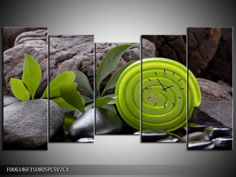 Klok schilderij Spa | Groen, Zwart | 150x80cm 5Luik