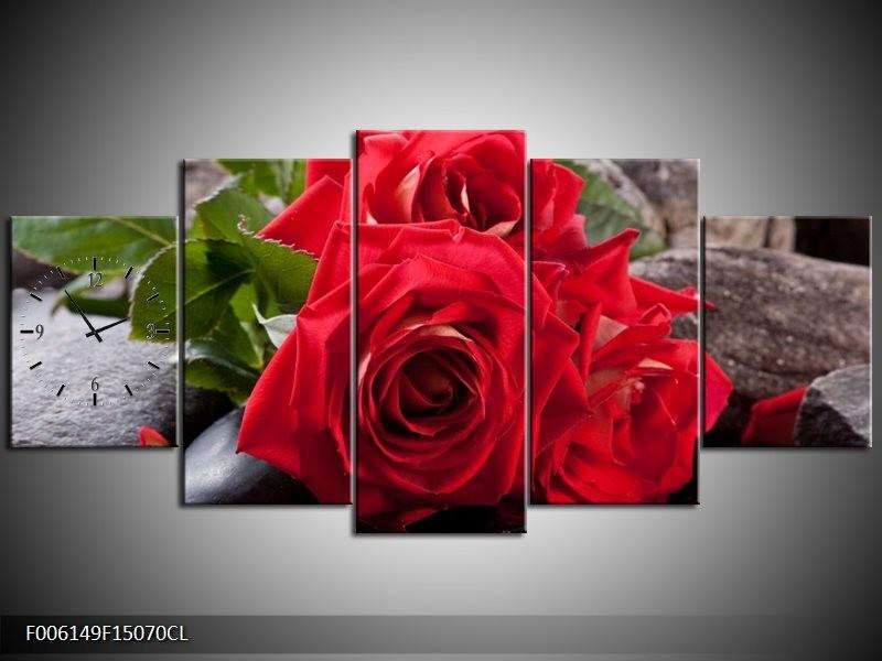 Klok schilderij Roos | Rood, Zwart, Groen | 150x70cm 5Luik