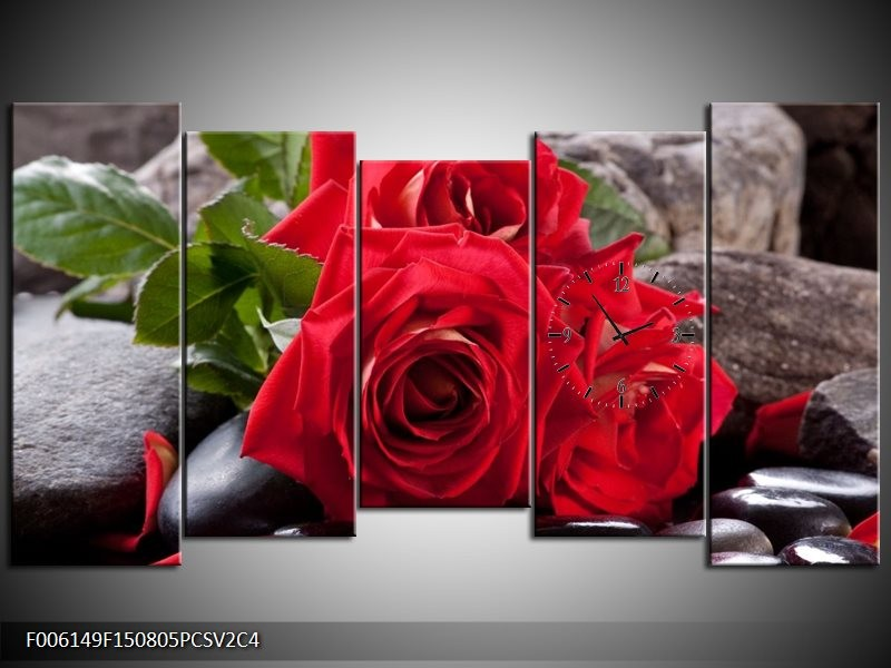 Klok schilderij Roos | Rood, Zwart, Groen | 150x80cm 5Luik