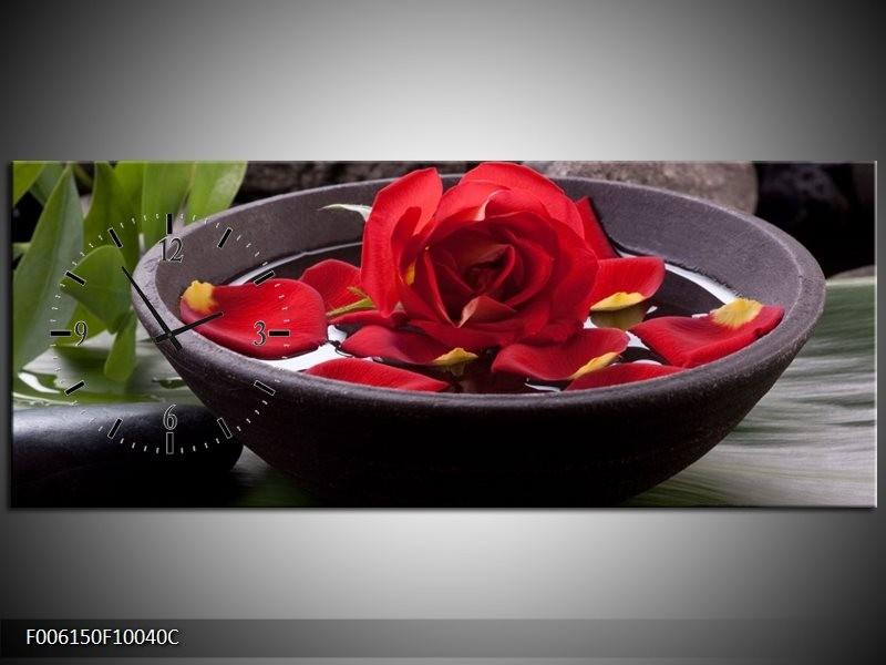 Klok schilderij Roos | Rood, Zwart, Groen | 100x40cm 1Luik