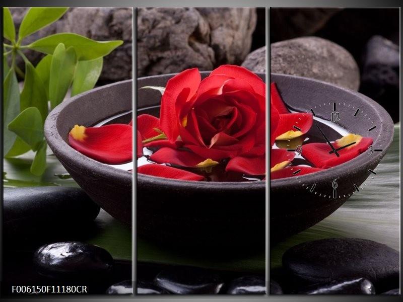 Klok schilderij Roos | Rood, Zwart, Groen | 111x80cm 3Luik