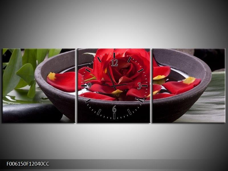 Klok schilderij Roos | Rood, Zwart, Groen | 120x40cm 3Luik