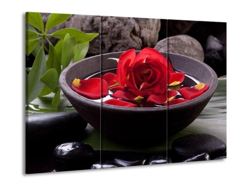 Glas schilderij Roos | Rood, Zwart, Groen | 90x60cm 3Luik