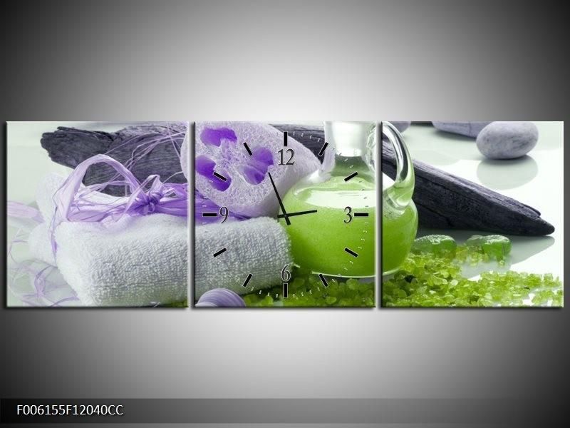 Klok schilderij Spa | Paars, Groen, Grijs | 120x40cm 3Luik
