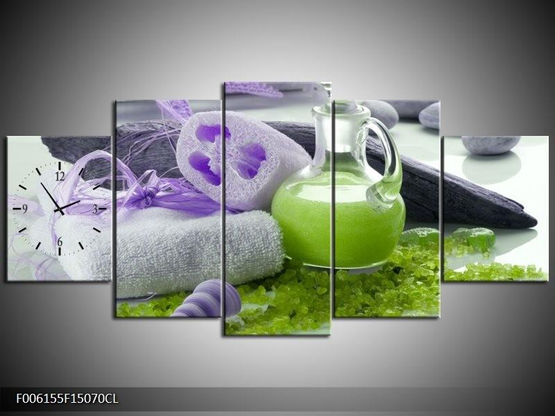 Klok schilderij Spa | Paars, Groen, Grijs | 150x70cm 5Luik