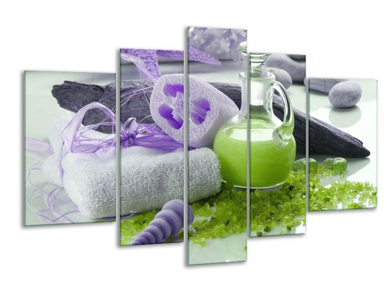 Glas schilderij Spa | Paars, Groen, Grijs | 170x100cm 5Luik