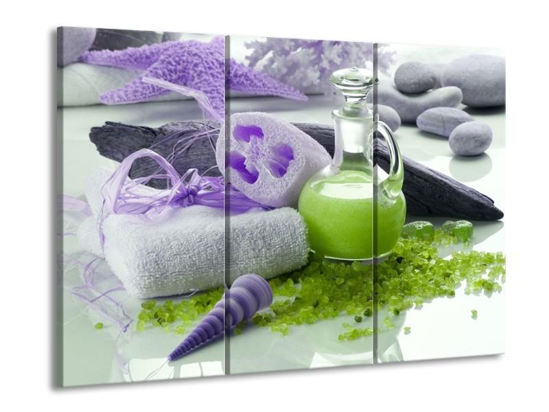 Glas schilderij Spa | Paars, Groen, Grijs | 90x60cm 3Luik