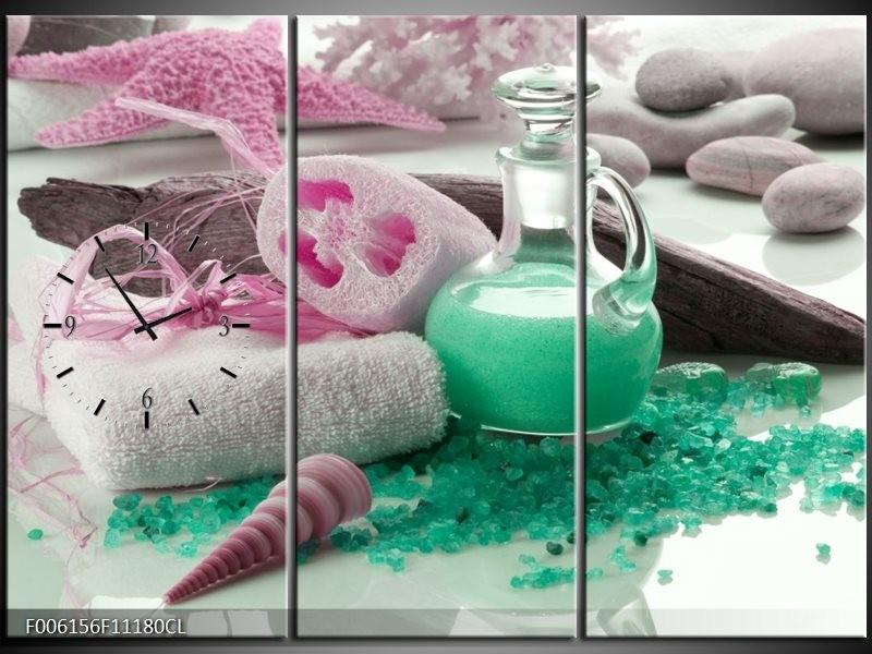 Klok schilderij Spa | Groen, Roze | 111x80cm 3Luik