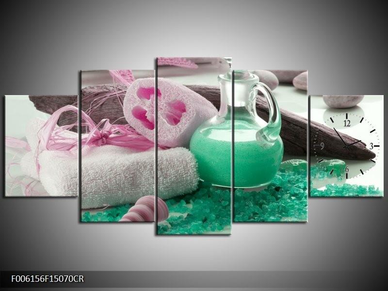 Klok schilderij Spa | Groen, Roze | 150x70cm 5Luik