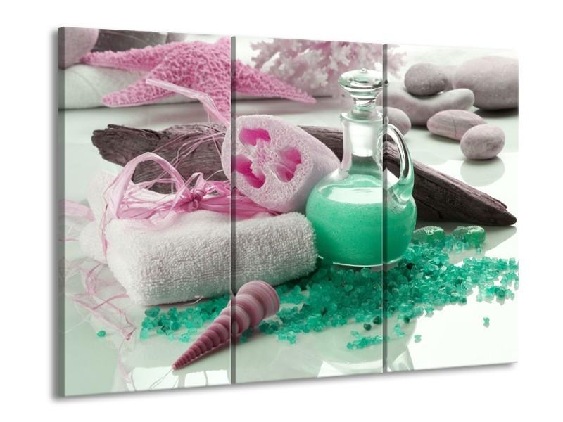 Glas schilderij Spa | Groen, Roze | 90x60cm 3Luik
