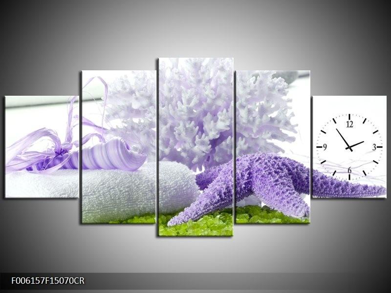 Klok schilderij Spa | Paars, Groen, Wit | 150x70cm 5Luik