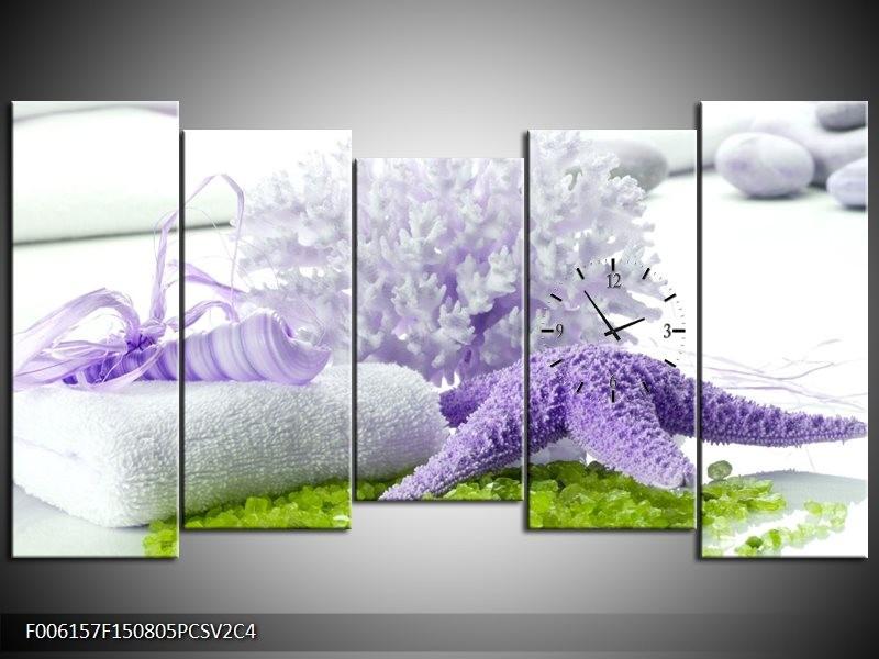 Klok schilderij Spa | Paars, Groen, Wit | 150x80cm 5Luik