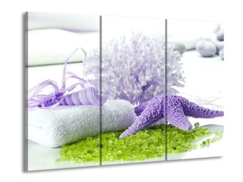 Glas schilderij Spa | Paars, Groen, Wit | 90x60cm 3Luik
