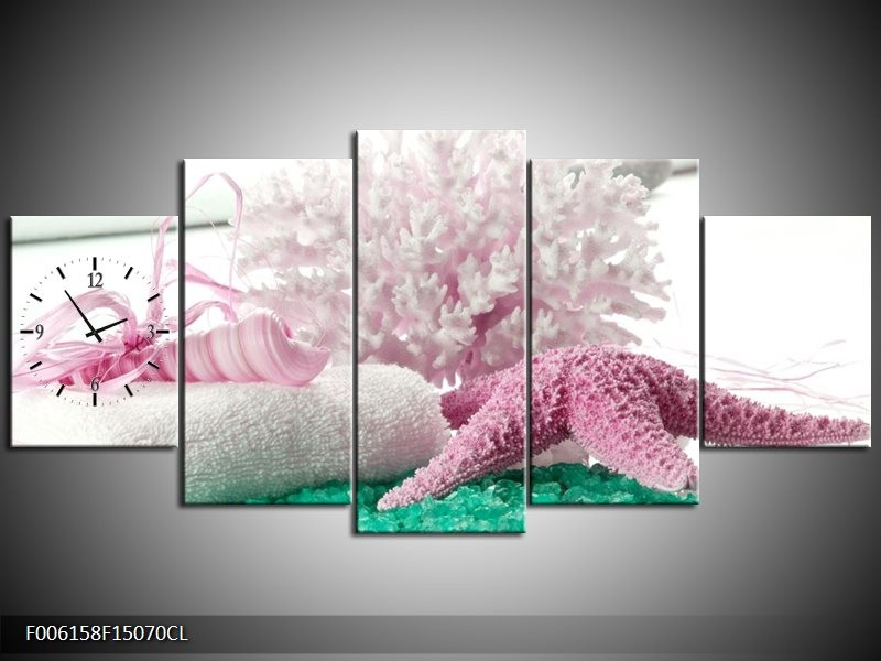 Klok schilderij Spa | Roze, Groen | 150x70cm 5Luik