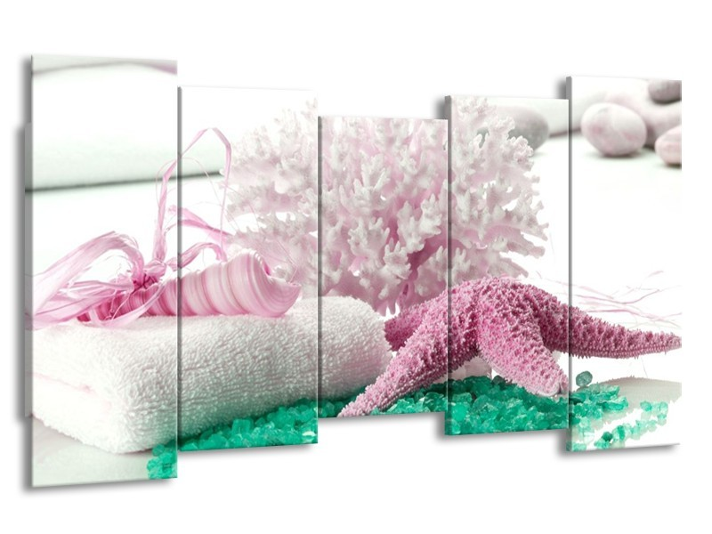 Glas schilderij Spa | Roze, Groen | 150x80cm 5Luik