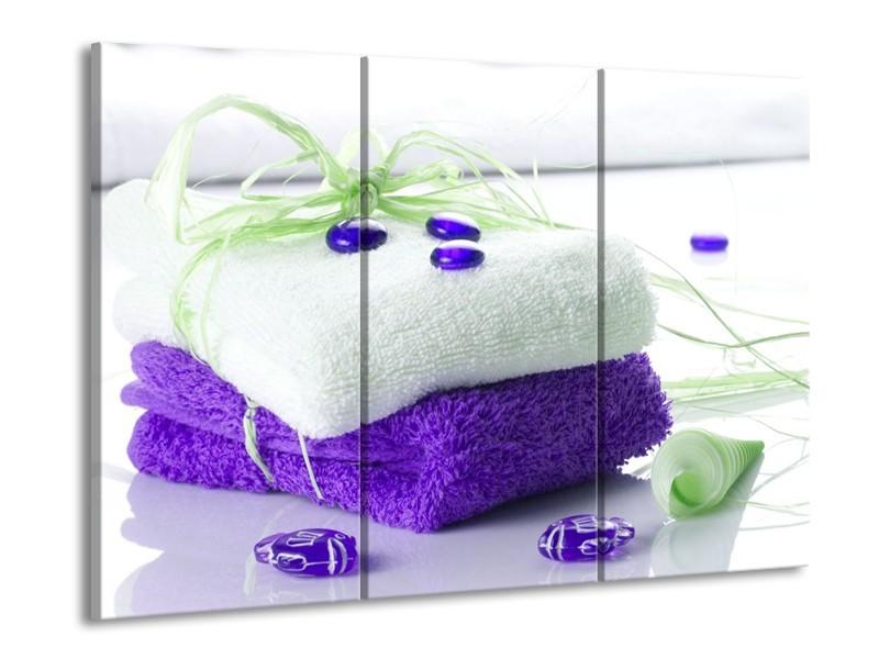 Glas schilderij Spa | Paars, Wit, Groen | 90x60cm 3Luik