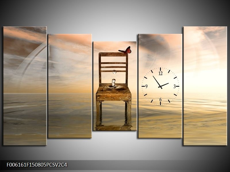 Klok schilderij Modern | Bruin, Grijs | 150x80cm 5Luik
