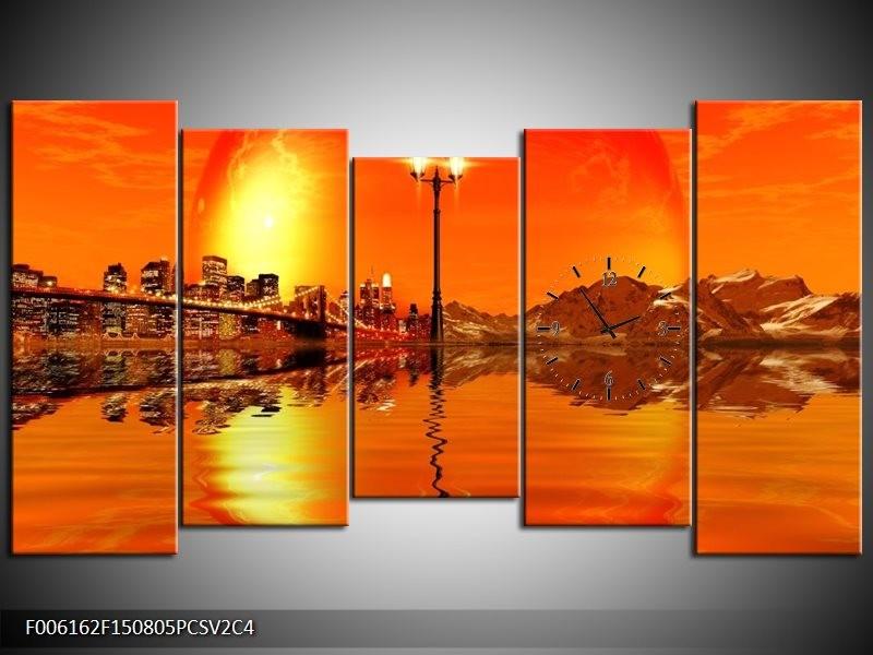 Klok schilderij Steden | Oranje, Rood, Geel | 150x80cm 5Luik